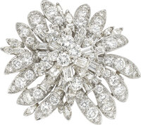 Exquisite diamond flower brooch by Julius Cohen  Mounted in platinum with yellow gold signature plaque on rever
