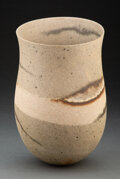 Ceramics & Porcelain, Jennifer Lee (British, b. 1956). Smoky Vessel with Sand Band and Rust Flash, 2001. Hand-built stoneware with oxides. 14 ...