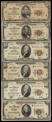 Fr. 1850-G; J $5 1929 Federal Reserve Bank Note. Very Good-Fine or Better (2); Fr. 1860-A; B; C $10 1929 Federal Reserve...