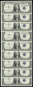Fr. 1621 $1 1957B Silver Certificates. Nine Examples. Crisp Uncirculated. ... (Total: 9 notes)