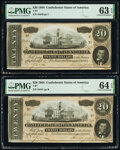 Confederate Notes:1864 Issues, T67 $20 1864 Two Examples PMG Graded Choice Uncirculated 63 EPQ; Choice Uncirculated 64 EPQ.. ... (Total: 2 notes)