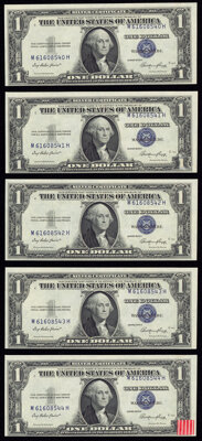 Misaligned Face Printing Error Fr. 1614 $1 1935E Silver Certificates. Five Consecutive Examples. Crisp Uncirculated...
