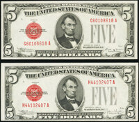 Fr. 1529 $5 1928D Legal Tender Note. Choice About Uncirculated; Fr. 1530 $5 1928E Legal Tender Note. Choice Crisp Uncirc...