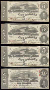 T60 $5 1863 PF-4 Cr. 450 Three Examples Very Fine; T59 $10 1863 PF-29 Cr. UNL Fine-Very Fine. ... (Total: 4 notes)