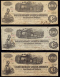 """Confederate Notes:1862 Issues, """"Manuscript Re-Issued Houston, TX"""" Apr. 14, 1863 T40 $100 1862 Fine;. """"Issued Houston, TX"""" 1863 T40 $100 1862 Fine;. """"... (Total: 3 notes)"""