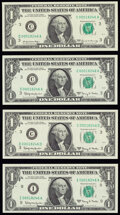 Matching Serial Numbers 00018246 $1 Federal Reserve Notes. Choice Crisp Uncirculated. Fr. 1901-C 1963A (3); Fr. 190... (...