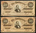 Confederate Notes:1864 Issues, T66 $50 1864 Two Examples Very Fine.. ... (Total: 2 notes)