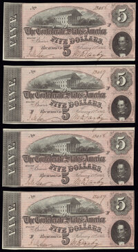 T69 $5 1864 PF-5 Cr. 560 Choice About Uncirculated. ... (Total: 7 notes)