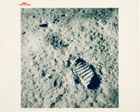 """Apollo 11 Vintage NASA """"Red Number"""" Color Photo, Image AS11-40-5878: Lunar Bootprint"""
