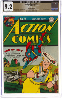 Action Comics #74 The Promise Collection Pedigree (DC, 1944) CGC NM- 9.2 White pages