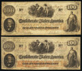 """Confederate Notes:1862 Issues, T41 $100 1862 PF-10 Cr. 315A Fine;. """"Manuscript Re-Issued San Antonio, TX"""" Apr. 1, 1863 T41 $100 1862 PF-11 Cr. 319A Extre... (Total: 2 notes)"""