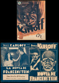 """Movie Posters:Horror, The Bride of Frankenstein & Other Lot (Universal, 1935). Overall: Fine+. Uruguayan Herald & Spanish Herald (Folded: 4.25"""" X ... (Total: 2 Items)"""