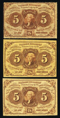 Fractional Currency:First Issue, Fr. 1229 5¢ First Issue Very Fine;. Fr. 1231 5¢ First Issue Fine or Better (2).. ... (Total: 3 notes)