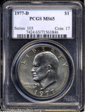 Eisenhower Dollars: , 1977-D MS65 PCGS. ...