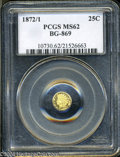 California Fractional Gold: , 1872/1 Indian Round 25 Cents, BG-869, Low R.4, MS62 PCGS. ...