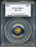 California Fractional Gold: , 1871 Liberty Octagonal 50 Cents, BG-912, R.3, MS63 PCGS. ...