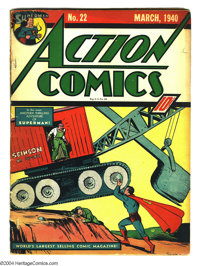 Action Comics #22 (DC, 1940) Condition: GD/VG. Beautiful cover featuring Superman. Very early Golden Age book. Overstree...