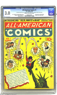 All-American Comics #1 (DC, 1939) CGC GD/VG 3.0 Cream to off-white pages. First appearances of Hop Harrigan, Scribbly (f...
