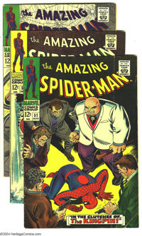 Amazing Spider-Man #51-55 Group (Marvel, 1967) Condition: Average VG+. John Romita Jr. art. Overstreet 2003 value for gr...