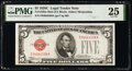 Small Size:Legal Tender Notes, Fr. 1528 $5 1928C Mule Legal Tender Note. F-A Block. PMG Very Fine 25.. ...