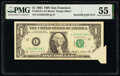 Error Notes:Attached Tabs, Butterfly Fold Error Fr. 1913-L $1 1985 Federal Reserve Note. PMG About Uncirculated 55.. ...