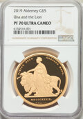 """Alderney: British Dependency. Elizabeth II gold """"Una and the Lion"""" Proof 5 Pounds 2019 PR70 Ultra Cameo NGC..."""