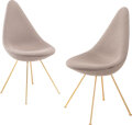Furniture, Arne Jacobsen (Danish, 1902-1971). Pair of limited edition 60th Anniversary Drop Chairs, designed 1958, produced 2018, F... (Total: 2 Items)