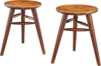 Edgar Anderson (American, 1922-2015) and Joyce Anderson (American, 1923-2014) A Pair of Crafted Low Stools, circa 1980...