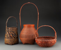 Japanese School Three Ikebana Baskets Lacquered bamboo 18 x 8-3/4 inches (45.7 x 22.2 cm)(tallest) Two inscribed to...