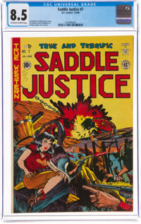 Saddle Justice #7 (EC, 1949) CGC VF+ 8.5 Off-white to white pages