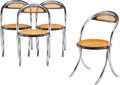 Furniture, Italian School (20th Century). Four Side Chairs, circa 1965. Steel tubing, lacquered wood, cane. 31-...