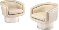Leon Rosen (American, 20th Century) A Pair of Swivel Tub Chairs, circa 1969, Pace Steel, faux hide upholstery 30 x 30...