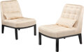 Furniture, Edward Wormley (American, 1907-1995). Pair of Slipper Chairs, circa 1955, Dunbar. Silk upholstery, lacquered wood. 32-1/... (Total: 2 Items)