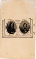 Photography:CDVs, Abraham and Mary Todd Lincoln: Tintypes on Paper Mount....