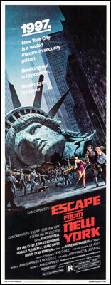 """Escape from New York (Avco Embassy, 1981). Rolled, Very Fine. Insert (14"""" X 36"""") Barry Jackson Artwork. Scienc..."""