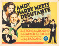 """Movie Posters:Comedy, Andy Hardy Meets Debutante (MGM, 1940). Folded, Fine+. Half Sheet (22"""" X 28""""). Comedy.. ..."""