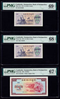 World Currency, Cambodia Bank of Kampuchea 0.1 Riel (2); 10 Riels 1975 Pick 18a (2); 22a Three Examples PMG Superb Gem Unc 69 EPQ; Superb ... (Total: 3 notes)