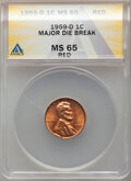 1959-D 1C Lincoln Cent -- Major Die Break -- MS65 Red ANACS. From the Don Bonser Error Coin Collection Part IV.<...