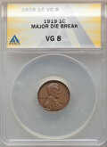1919 1C Lincoln Cent -- Major Die Break -- VG8 ANACS. From the Don Bonser Error Coin Collection Part IV
