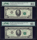 Small Size:Federal Reserve Notes, Fr. 2067-B; B* $20 1969 Federal Reserve Notes. PMG Graded Choice Uncirculated 64 EPQ; Gem Uncirculated 65 EPQ.. ... (Total: 2 notes)