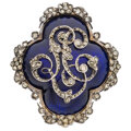 Estate Jewelry:Brooches - Pins, Georgian Diamond, Enamel, Silver-Topped Gold Brooch. ...