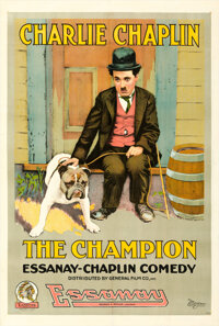 """The Champion (Essanay, 1915). Very Fine+ on Linen. One Sheet (28"""" X 42"""")"""