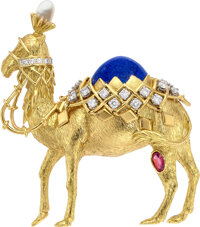 Schlumberger for Tiffany & Co. Diamond, Pink Sapphire, Cultured Pearl, Enamel, Gold Brooch