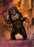Pulp, Pulp-like, Digests and Paperback Art, Don Greer (American, 20th Century). Warebear, Down in the Dungeon interior illustration, 1981. Gouache and airbrush on b...