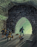 Pulp, Pulp-like, Digests and Paperback Art, Don Greer (American, 20th Century). No Exit, Down in the Dungeon interior book illustration, 1981. Gouache on board. 14 ...