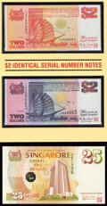 World Currency, Brunei and Singapore Group of 3 Commemorative Sets with Folders; 4 Notes Crisp Uncirculated.. ... (Total: 4 notes)