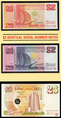 Brunei and Singapore Group of 3 Commemorative Sets with Folders; 4 Notes Crisp Uncirculated. ... (Total: 4 notes)