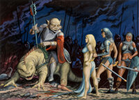Don Greer (American, 20th Century) The Spoils, Down in the Dungeons interior book illustration, 1981 Gouache and airbr...
