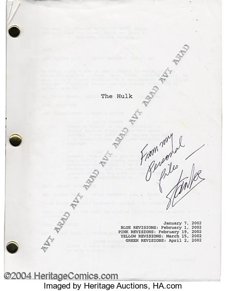 Stan Lee - Autographed copy of The Hulk Movie Script (2002)  This