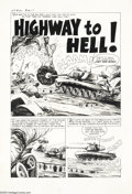 "Original Comic Art:Complete Story, Bob Powell (attributed) - Warfront #12, Complete 5-page story""Highway to Hell"" Original Art (Harvey, 1953). Here's a rip-ro..."